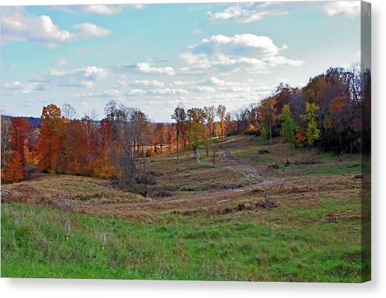 Canvas Print featuring the photograph Countryside In The Fall by Angela Murdock