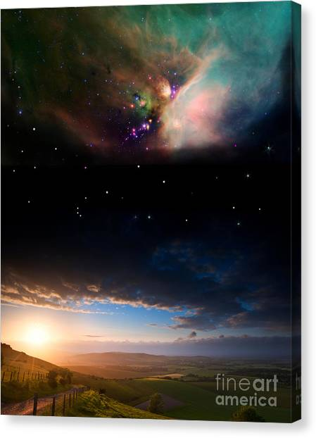 Celestial Globe Canvas Print - Countryside Sunset Landscape With by Matt Gibson