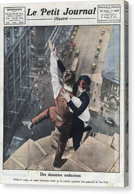 Couple Dancing On The Ledge Of A Canvas Print