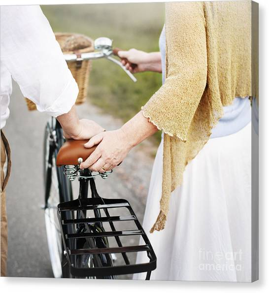 Basket Canvas Print - Couple Husband Wife Cheerful Caucasian by Rawpixel.com
