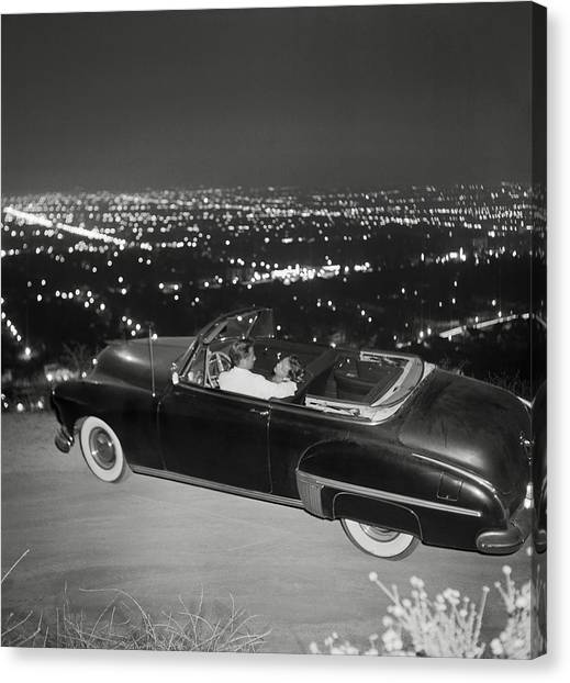 Couple In Convertible On Mulholland Canvas Print