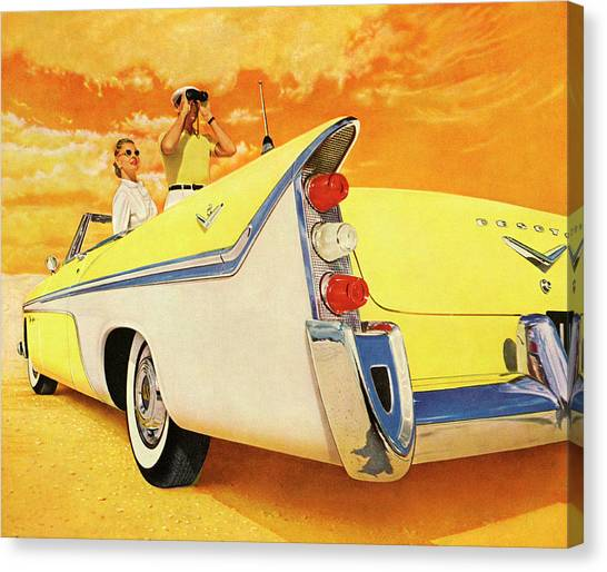 Couple In Yellow Convertible Canvas Print by Graphicaartis