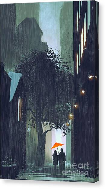 Acrylic Canvas Print - Couple With Red Umbrella Walking In by Tithi Luadthong