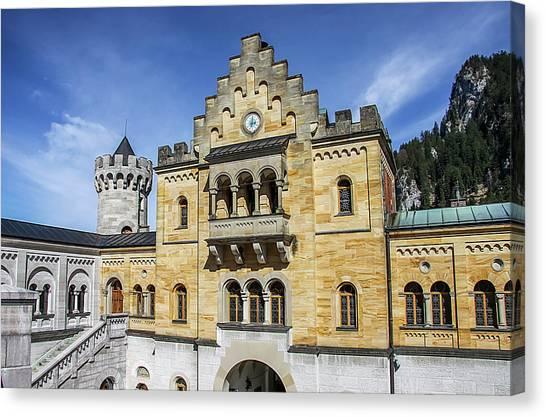 Canvas Print featuring the photograph Courtyard, Neuschwanstein Castle by Dawn Richards