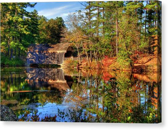 Canvas Print featuring the photograph Covered Bridge In Autumn - Dummerston Covered Bridge by Joann Vitali