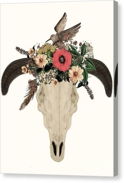 Native Canvas Print - Cow Skull Flowers by Bri Buckley