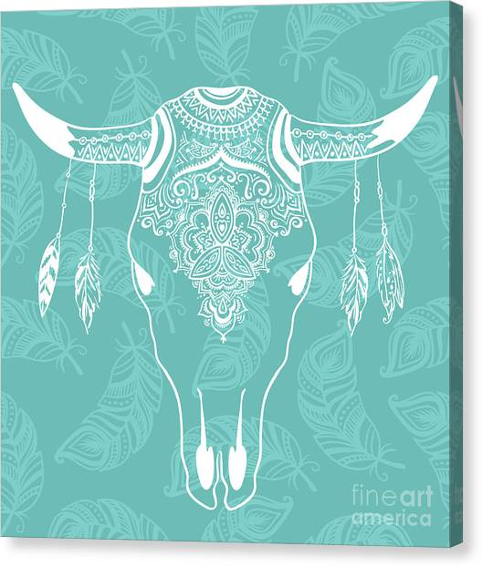 Necklace Canvas Print - Cow Skull With Feathers Isolated On by Alenka Karabanova