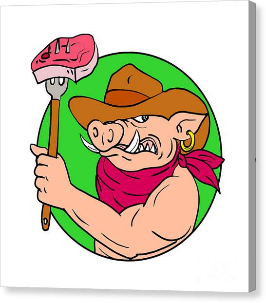 Cookout Canvas Print - Cowboy Hog Holding Barbecue Steak Drawing Color by Aloysius Patrimonio