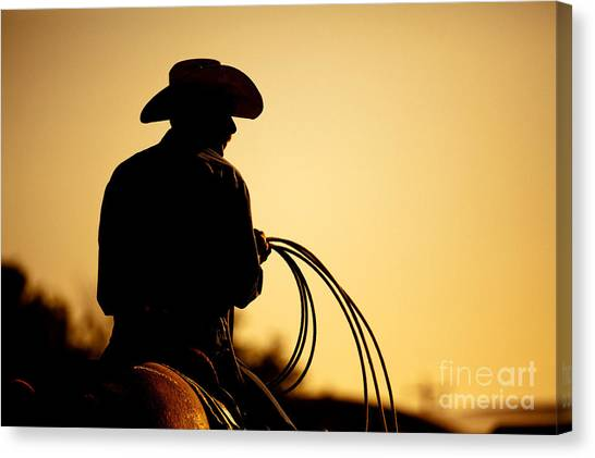 Lasso Canvas Print - Cowboy With Lasso Silhouette At by Sascha Burkard