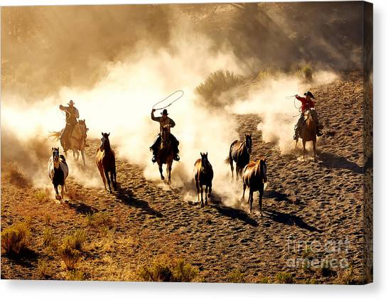 Cowboy Canvas Print - Cowboys Chasing Wilding Horses. Roping by Jeanne Provost