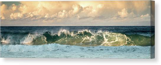 Crashing Waves And Cloudy Sky Canvas Print