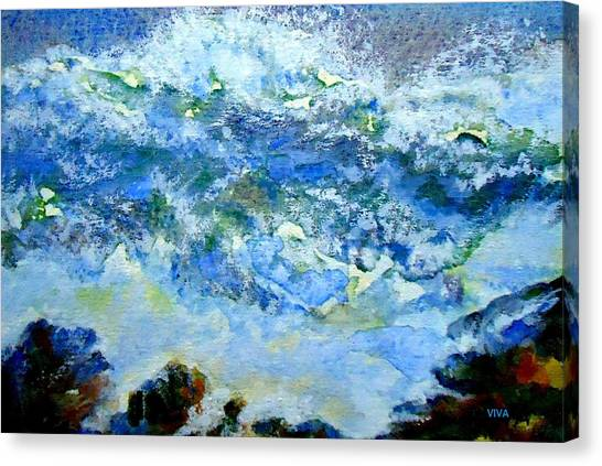 Canvas Print featuring the painting Crashing Waves by VIVA Anderson