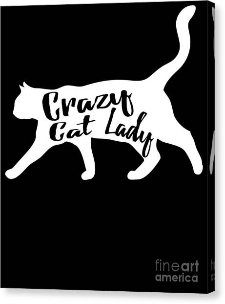 Canvas Print featuring the digital art Crazy Cat Lady by Flippin Sweet Gear