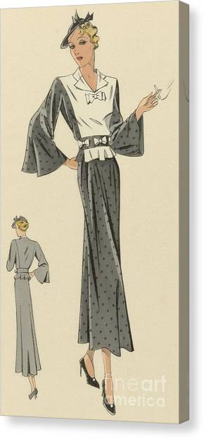 Fashion Plate Canvas Print - Creations De Haute Couture Circa 1937 by French School