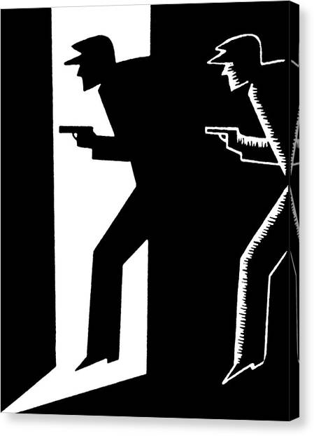 Weapons Canvas Print - Criminal Holding Gun by Graphicaartis