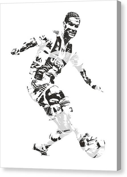 Real Madrid Canvas Print - Cristiano Ronaldo Juventus Pixel Art 1 by Joe Hamilton