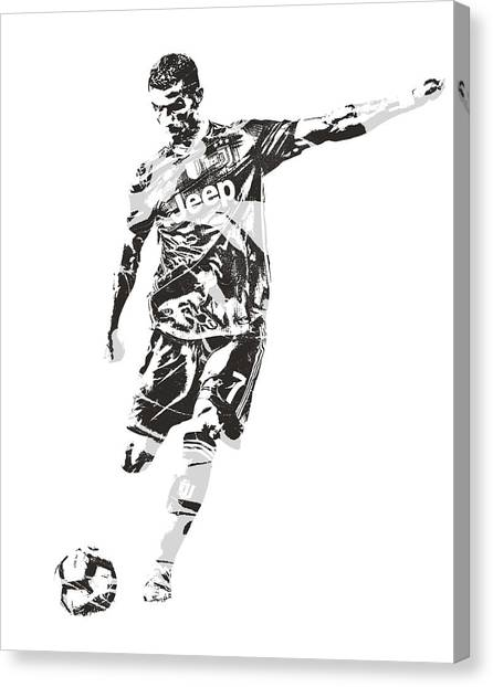 Real Madrid Canvas Print - Cristiano Ronaldo Juventus Pixel Art 2 by Joe Hamilton