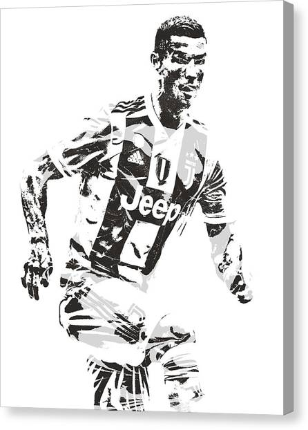 Real Madrid Canvas Print - Cristiano Ronaldo Juventus Pixel Art 3 by Joe Hamilton