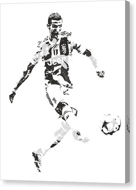 Real Madrid Canvas Print - Cristiano Ronaldo Juventus Pixel Art 4 by Joe Hamilton