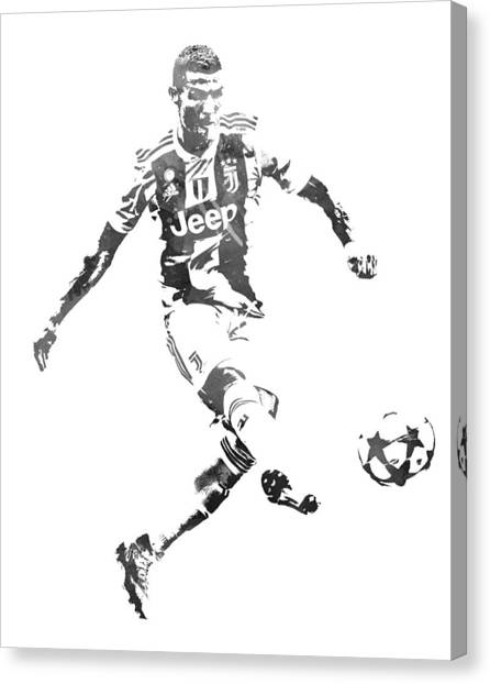 Cristiano Ronaldo Canvas Print - Cristiano Ronaldo Juventus Water Color Pixel Art 1 by Joe Hamilton