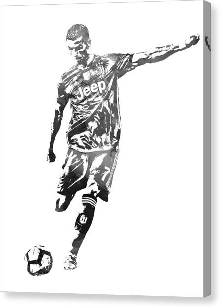 Cristiano Ronaldo Canvas Print - Cristiano Ronaldo Juventus Water Color Pixel Art 2 by Joe Hamilton
