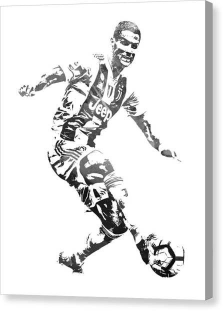 Cristiano Ronaldo Canvas Print - Cristiano Ronaldo Juventus Water Color Pixel Art 3 by Joe Hamilton