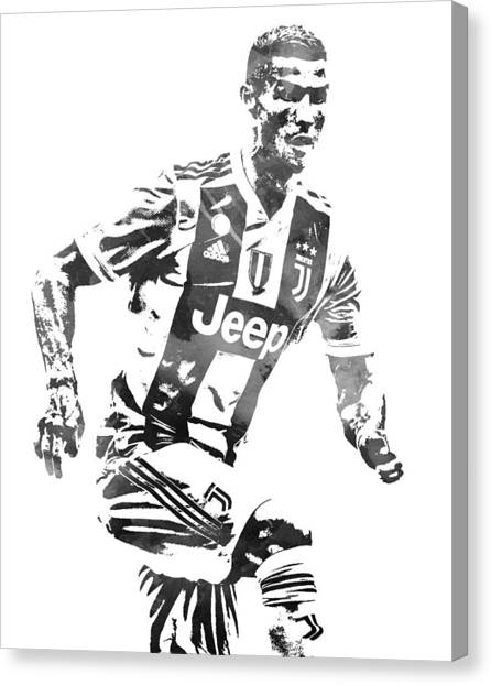 Cristiano Ronaldo Canvas Print - Cristiano Ronaldo Juventus Water Color Pixel Art 4 by Joe Hamilton