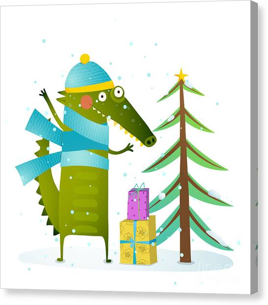Presents Canvas Print - Crocodile Wearing Winter Warm Clothes by Popmarleo