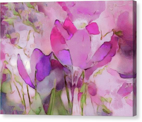 Canvas Print featuring the mixed media Crocus So Pink by Susan Maxwell Schmidt