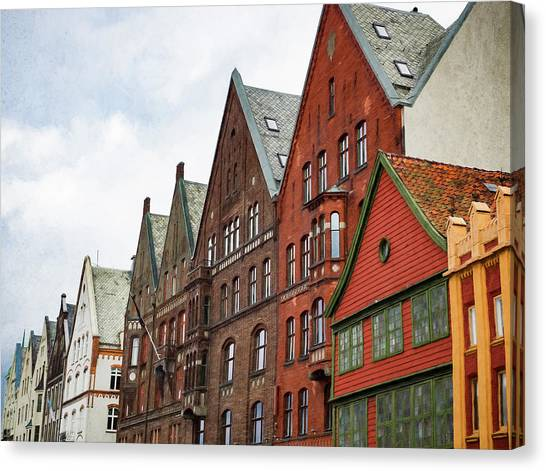 Crooked Buildings Of Bergen Norway In Europe Canvas Print