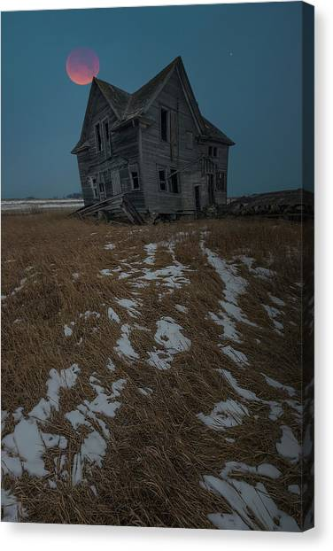 Canvas Print featuring the photograph Crooked Moon by Aaron J Groen
