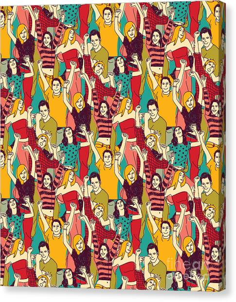 Illustration Canvas Print - Crowd Active Happy People Seamless by Chief Crow Daria