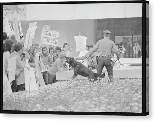Crowd Protesting President Nixon Canvas Print