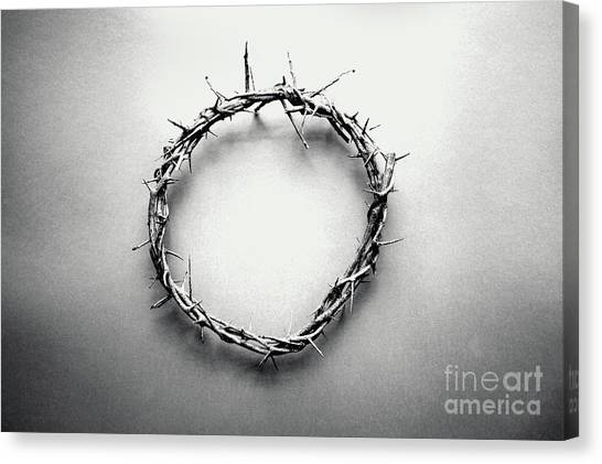 Resurrected Canvas Print - Crown Of Thorns In Black And White  by Stephanie Frey