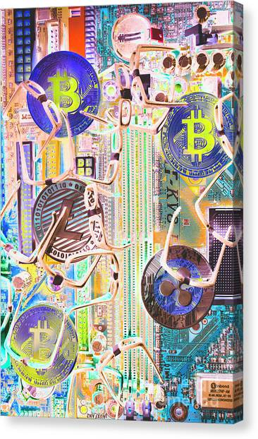 Money Canvas Print - Cryptocurrency Circuitry by Jorgo Photography - Wall Art Gallery