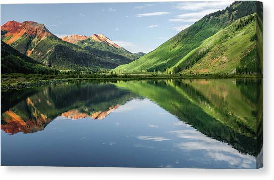 Crystal Lake Red Mountain Reflection Canvas Print