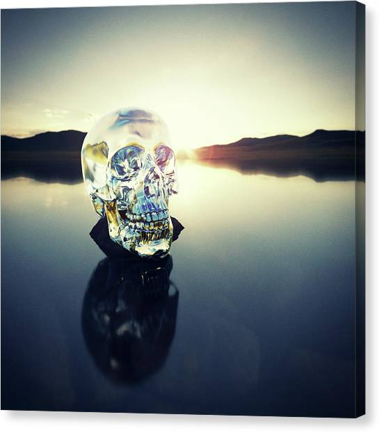 Crystal Skull Laying On Rock In Lake Canvas Print by Doug Armand