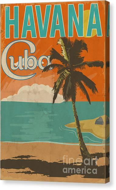 50s Canvas Print - Cuba Havana Poster Illustration by Yusuf Doganay