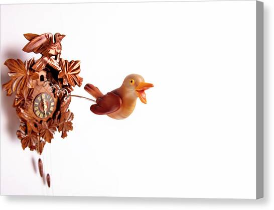 Cuckoo Coming Out Of Cuckoo Clock With Canvas Print