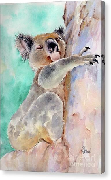 Cuddly Koala Watercolor Painting Canvas Print