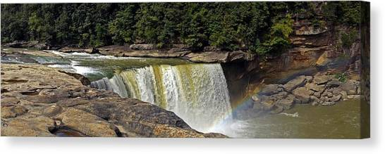 Canvas Print featuring the photograph Cumberland Falls And Rainbow Panorama by Mike Murdock
