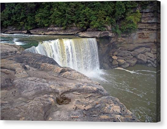 Canvas Print featuring the photograph Cumberland Falls In The Evening by Mike Murdock