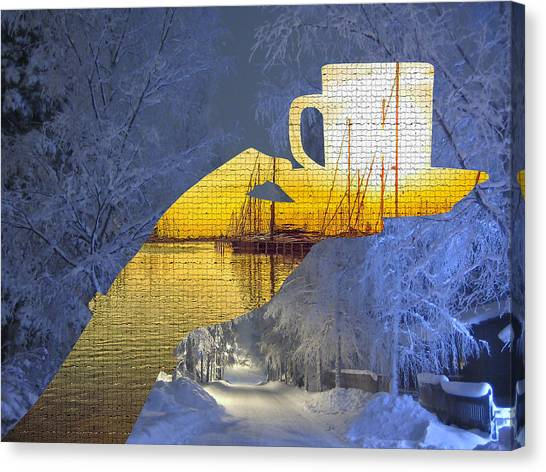 Cup Of Tea In The Winter Evening Canvas Print