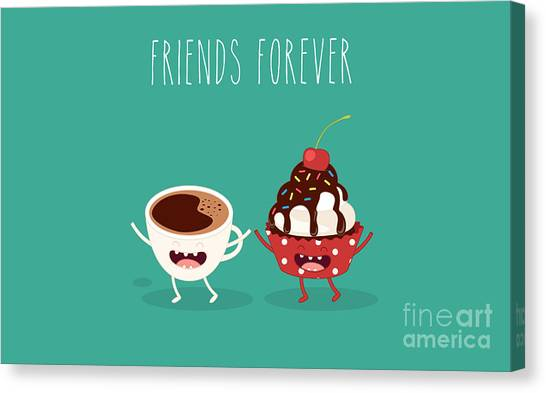Decoration Canvas Print - Cupcakes And Cup Coffee. Comic by Serbinka