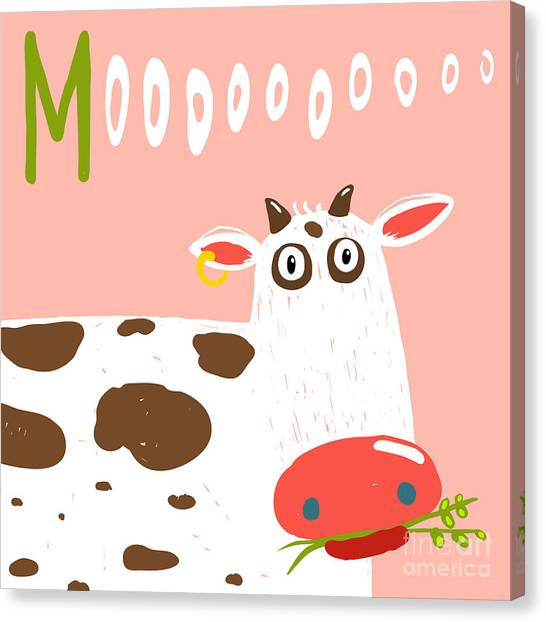 Livestock Canvas Print - Curious Stupid Cow Eating Grass With by Popmarleo