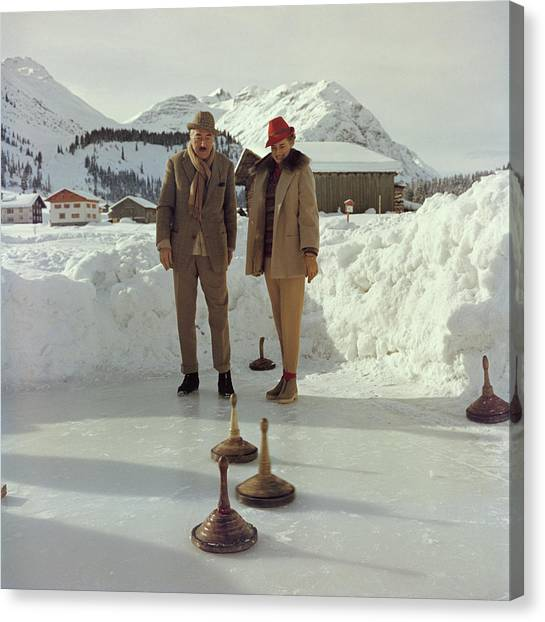 Curling Canvas Print by Slim Aarons