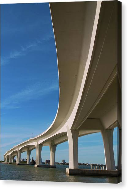 Curved Bridge Overpass Over The Water Canvas Print by Dsharpie