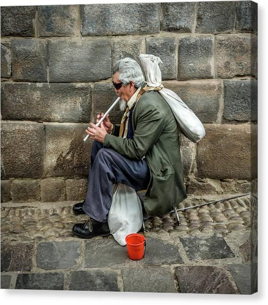 Canvas Print featuring the photograph Cusco Man by Jon Exley