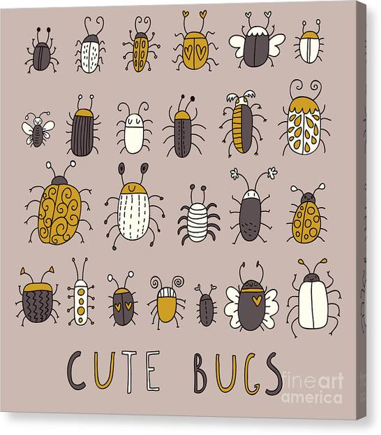 Science Education Canvas Print - Cute Bugs âVector Set In Retro by Smilewithjul