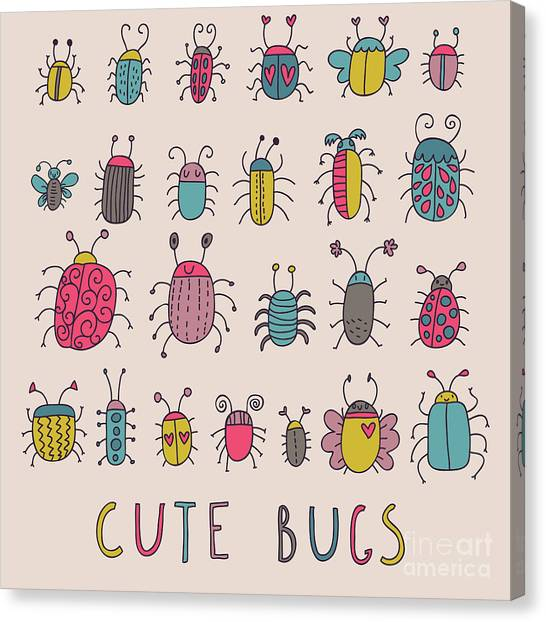 Cute Bugs. Cartoon Insects In Vector Set Canvas Print by Smilewithjul